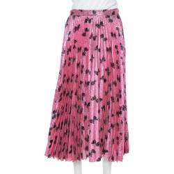 Gucci Pink Lurex Silk Bow Intarsia Pleated Midi Skirt L
