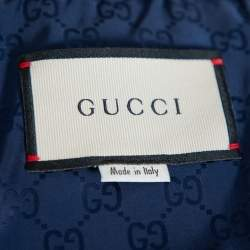 Gucci Navy Blue Synthetic Sleeveless Wind Jacket L