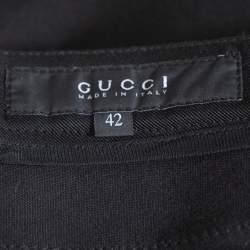 Gucci Black Knit & Leather Slim Fit Pants M