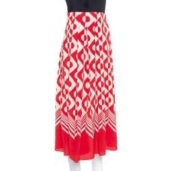 Gucci Red & Cream Geometric Printed Silk Midi Skirt S