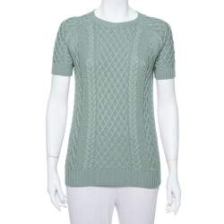 Gucci Pastel Green Cable Knit Short Sleeve Sweater S