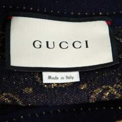 Gucci Navy Blue Logo Pattern Lurex Knit Short Sleeve Sweater S