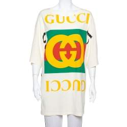 Gucci Cream Cotton Logo Printed Oversized T Shirt Dress XS