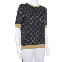 Gucci Navy Blue Logo Pattern Lurex Knit Short Sleeve Sweater XL