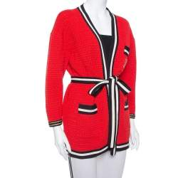 Gucci Red Knit Contrast Trim Detail Open Front Belted Cardigan S
