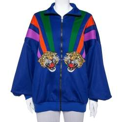Gucci Multicolor Jersey Tiger Applique Detail Drop Shoulder Track Jacket L