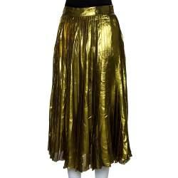 Gucci Gold Lurex Silk Pleated Midi Skirt L