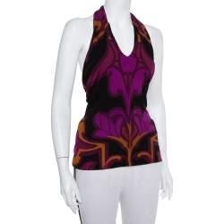 Gucci Multicolor Knit Printed Halter Neck Top M