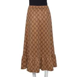Gucci Beige Knit Logo Monogram Detail Ruffled Midi Skirt XS