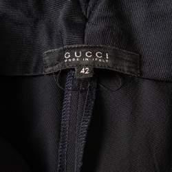 Gucci Navy Blue Wool Straight Leg Trousers M