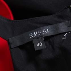 Gucci Black Embellished Silk Cutaway Asymmetrical Layered Gown S