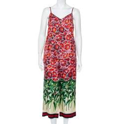 Gucci Red Garden Printed Silk Camisole & Wide Leg Pants Set S