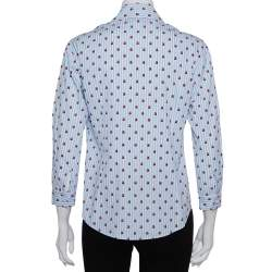 Gucci Blue & White Striped Ladybug Printed Cotton Button Front Shirt S