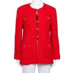 Gucci Red Tweed Button Front Jacket L