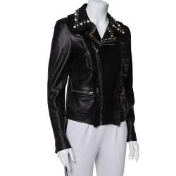 Gucci Black Leather Bead Studded Short Jacket M