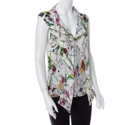 Gucci White Floral Printed Silk Neck Tie Detail Sleeveless Top M
