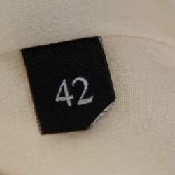 Gucci Cream Crepe Pleated Hem Detail Belted Sleeveless Dress M
