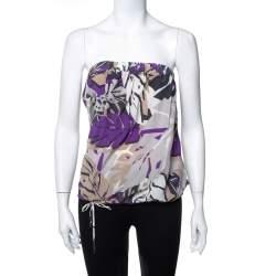 Gucci Multicolour Printed Silk Waist Tie Detail Strapless Top M