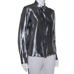 Gucci Metallic Lurex Silk Button Front Shirt M