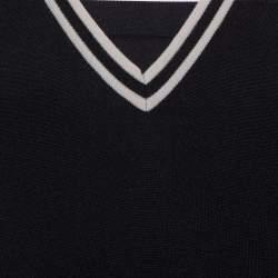 Gucci Black Wool Striped Detail V-Neck Sweater L