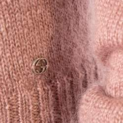 Gucci Pale Pink Mohair & Silk Cable Knit Crewneck Sweater S