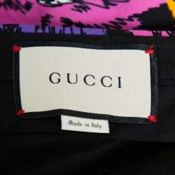Gucci Multicolor Panther Face Printed Knit Palazzo Pants M