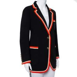 Gucci Black Crepe Fox Badge Contrast Trim Detail Blazer M