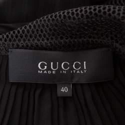 Gucci Black Silk Contrast Lamé Paneled Pleated Midi Dress S