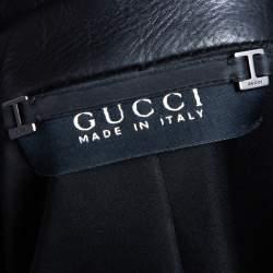 Gucci Black Leather Button Front Blazer S