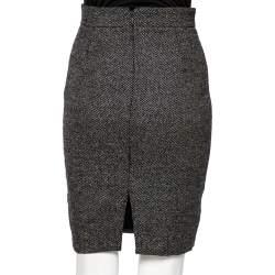 Gucci Grey Wool Pleated Waist Detail Pencil Skirt S