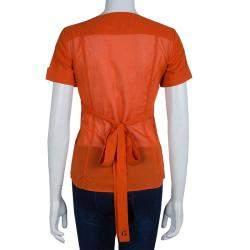 Gucci Orange Front Tie Detail Short Sleeve Cotton Blouse  S