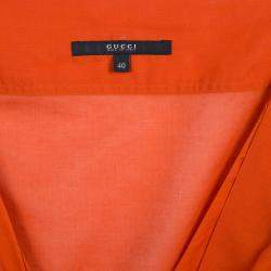 Gucci Orange Front Tie Detail Short Sleeve Cotton Blouse  S