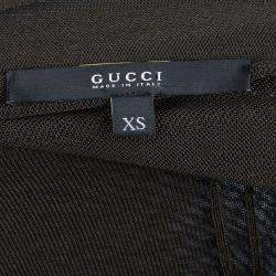 Gucci Olive Green Knit Pintucked Neck Tie Detail Sheer Top XS