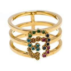 Gucci GG Running Multicolor Gemstones 18K Yellow Gold Ring Size 50.5