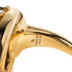 خاتم غوتشي كوكتيل ذهب أصفر عيار 18 ألماس حجر مرجان مالكيت هبيتي هورسبيت مقاس 54