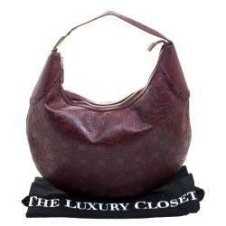 Gucci Burgundy Horsebit Embossed Leather Buckle Hobo