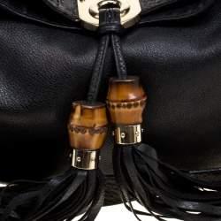 Gucci Black Leather Medium Indy Top Handle Bag
