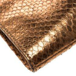 Gucci Bronze Python Large Nouveau Clutch