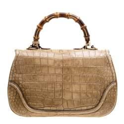 Gucci Beige Crocodile Leather Large New Bamboo Satchel