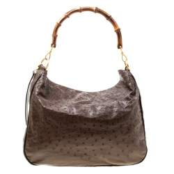 Gucci Brown Ostrich Bamboo Handle Hobo