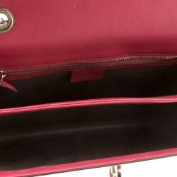 حقيبة كتف غوتشي  بحروف GG متشابكة جلد لامع وردية زاهية