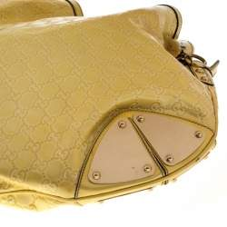 Gucci Large Indy in Yellow/White Guccissima Patent Leather Hobo