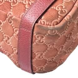 Gucci Coral Orange Guccissima Nubuck and Leather Abbey Hobo