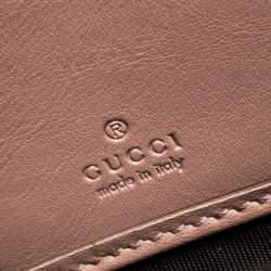 Gucci Beige Micro Guccissima Patent Leather Zip Around Wallet