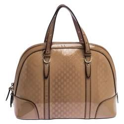Gucci Beige Micro Guccissima Patent Leather Nice Satchel