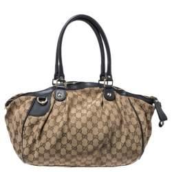 Gucci Beige GG Canvas and Leather Medium Sukey Boston Bag