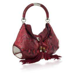 Gucci Gold Red Python Large Babouska Indy Top Handle Bag