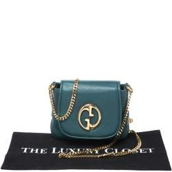 Gucci Green Leather Small 1973 Chain Crossbody Bag