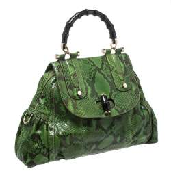 Gucci Green Python Dialux Pop Bamboo Top Handle Bag