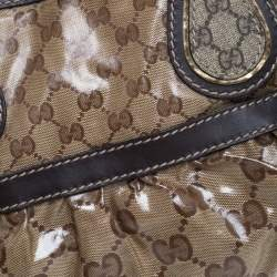 Gucci Brown/Beige GG Crystal Canvas and Leather Mix Tote